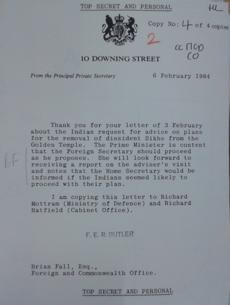 This letter dated 6th February 1984 proves Margaret Thatcher was briefed on the advise given to Indian officials. Credit: Phil Miller