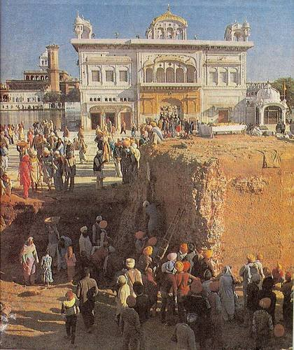 Akal Takht foundations exposed during repair in 1980's