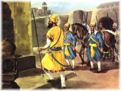 Guru Gobind Singh accompanying Sahibzada Ajit Singh & Jujhar Singh to the top floor of the mud fort at Chamkaur.