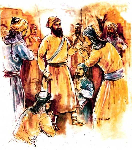 Sahibzada Ajit Singh saying farewell to his father, Guru Gobind Singh