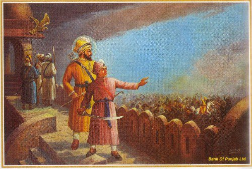 Sahibzada Jujhar Singh watches his brother Ajit Singh in action with their father, Guru Gobind Singh