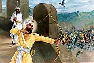 Guru Gobind Singh providing protection cover for the Sahibzade